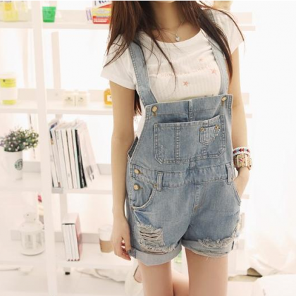 Sling overalls denim shorts