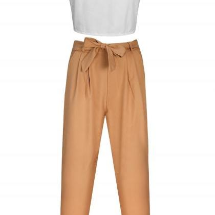 Sexy white v-neck blouse trousers t..