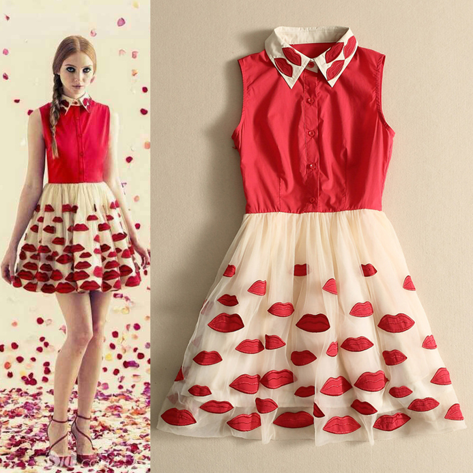 Red Lips Embroidered Gauze Tutu Dress