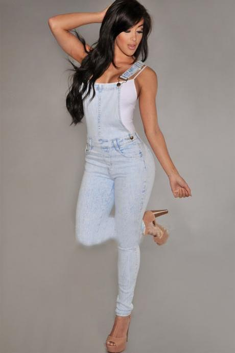 Cotton denim fashion jumpsuit