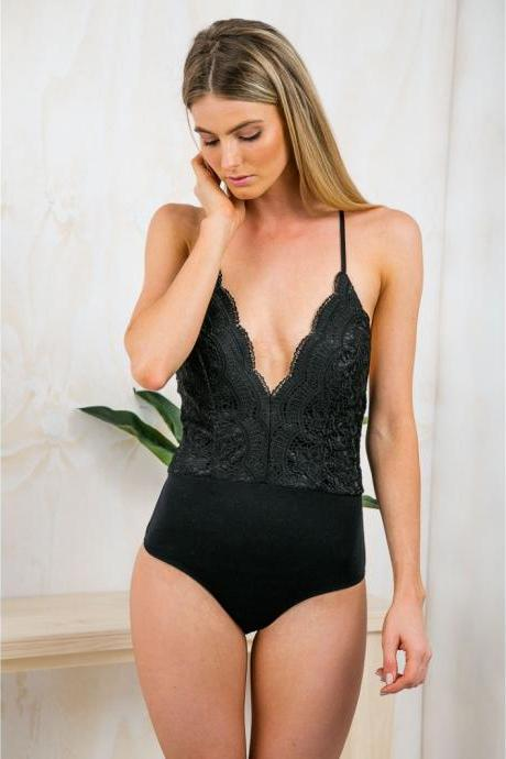 Lace Plunge V Bodysuit Featuring Open Back and Lace-Up Detailing in Black or White