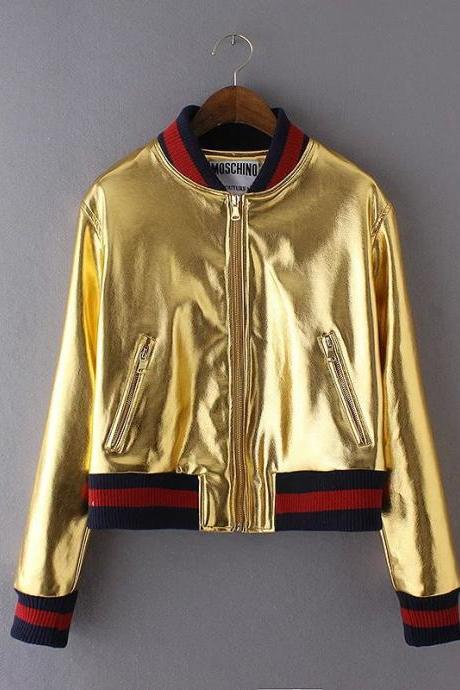Metal feeling baseball jacket